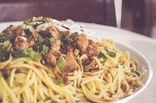 Spaghete cu praz şi carne de vită