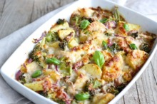 Cartofi cu broccoli la cuptor